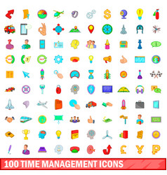 100 time management icons set cartoon style vector image