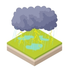 Thunderstorm icon in cartoon style vector