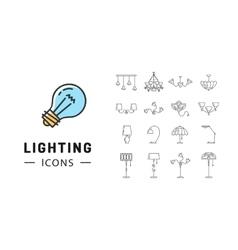 Lamp icon set lighting store flat design brand vector