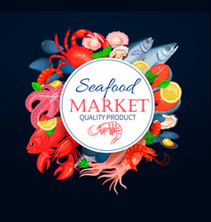 Seafood poster template with crab vector
