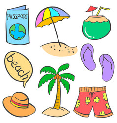 Object summer holiday doodle styles vector