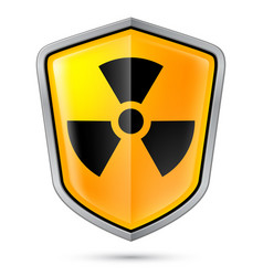 Warning sign on shield indicating of radiation vector