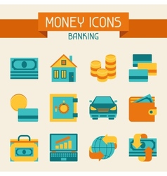 Set of money and banking icons vector
