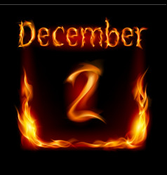 Second december in calendar of fire icon on black vector