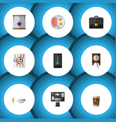 Flat icon life set of cappuccino briefcase lunch vector
