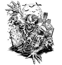 Zombie comic style line art vector