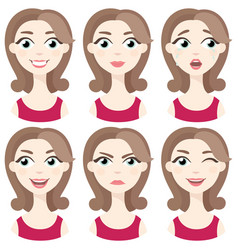 Set of woman avatar expressions face emotions vector