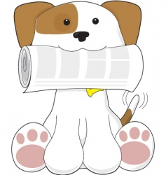 Puppy and newspaper vector