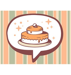 Speech bubble with icon of cake on orange vector
