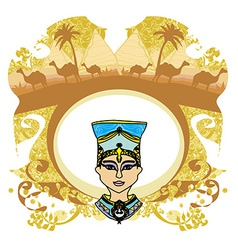 Vintage frame with egyptian queen vector