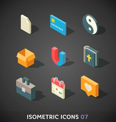 Flat isometric icons set 7 vector