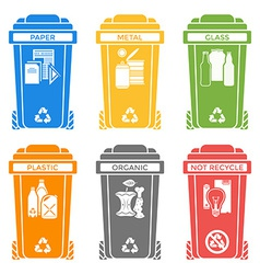 Various colors separated garbage bins solid icons vector