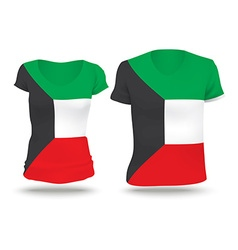 Flag shirt design of kuwait vector