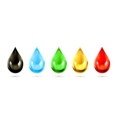 Set of multicolored droplets icons vector