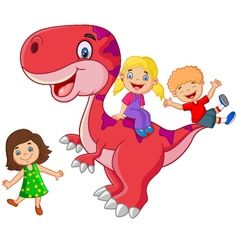 Little kid playing on the dinosaur vector