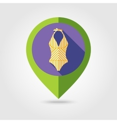 Swimsuit flat mapping pin icon with long shadow vector