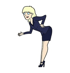 Comic cartoon businesswoman explaining vector