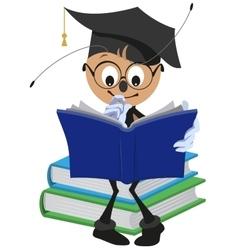 Ant student reading book vector