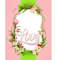 Greeting card with colorful flower background vector