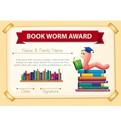Bookworm award template with books and worm vector image
