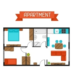 Architectural project of apartment with furniture vector