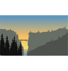 Landscape of cliff at sunset vector