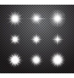 Set of stars and sparkles lights effects vector image