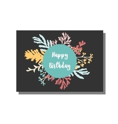 Universal card template with floral pattern happy vector