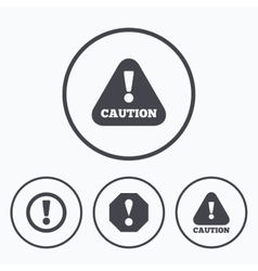 Attention caution signs hazard warning icons vector
