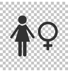 Female sign  dark gray icon on vector