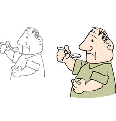 Man with spoon vector image