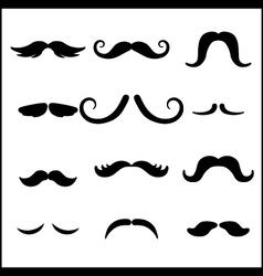 Black mustaches set vector