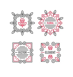 Floral elements design set vector