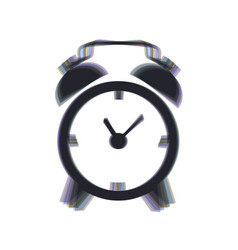 Alarm clock sign colorful icon shaked vector