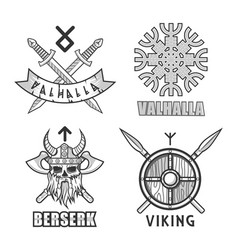 Authentic vikings themed logo isolated monochrome vector