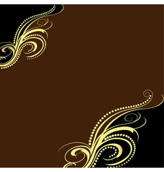 background with golden ornament and brown vector image vector image