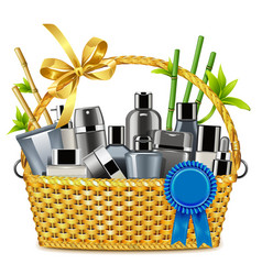 Basket with male cosmetics vector