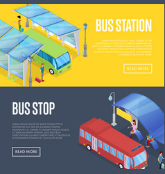 Bus waiting station isometric 3d posters vector