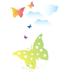 butterflies swarm and clouds vector image vector image