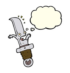 Cartoon frightened knife with thought bubble vector