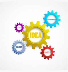 Colorful gears with the words creativity innovati vector