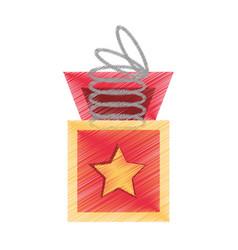 Drawing surprise box stars april fools vector