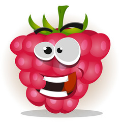 Funny happy raspberry character vector