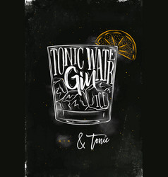 Gin tonic cocktail chalk color vector