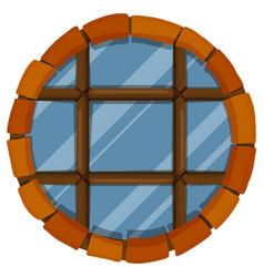 glass window with bricks frame vector image