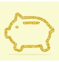 golden figure piggy bank vector image vector image