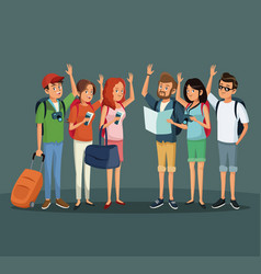 group people young travelers vacations vector image