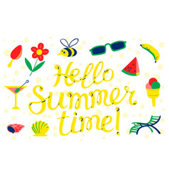 Hello summer time lettering beach banner vector