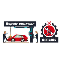 Horizontal banner template on car repairs logo vector