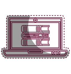laptop computer with ebook isolated icon vector image vector image